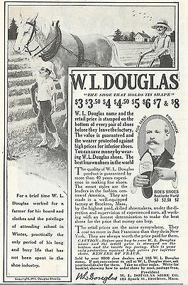 1918 W. L. Douglas Boys Shoes Ad Brockton Ma Massachusetts