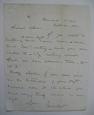 Civil War Letter, Sutlership Appointment Charles Long Regiment Concord N.h.