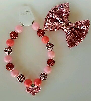 Baby Toddler Girls Valentines Day Red Heart Pink  Chunky Bubble Necklace Bow Set