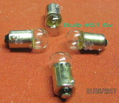 Lionel Bulb, # 51 (51-300) (Q-90),(6v) for Many applications (4) (NEW)