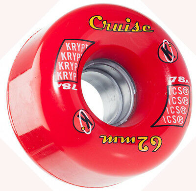 KRYPTONICS Cruise Red Roller Skate Wheels x 8  62mm 78a / Quad Rollerskate