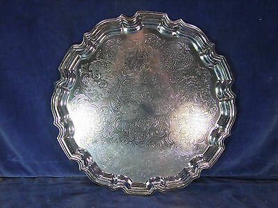 Vintage Cavalier Silver Plate Drinks Tray With Piecrust Edge - Mid 20th C [9800]