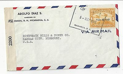 Nicaragua 1942 Censor Cover to US, 40c Airmail Surcharge Solo