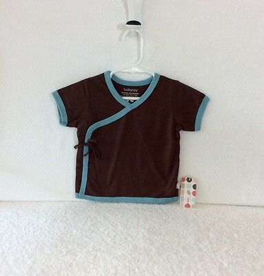 50% Off! All Natural, New BabySoy Brown and Blue Unisex Kimono Tee, 6-12m