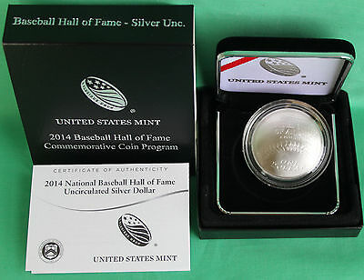 2014 National Baseball Hall of Fame BU 90% Silver Dollar US Mint Coin Box + COA
