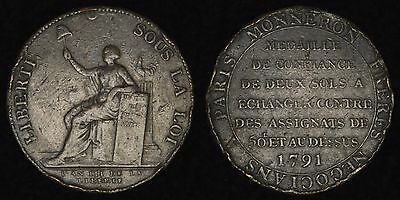 FRANCE - 1791 2 Sols - Monneron Token - French Revolution Issue