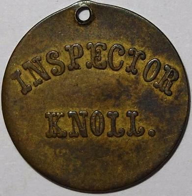 INSPECTOR KNOLL house depicted TOKEN brass 21mm holed
