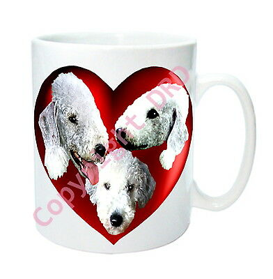 1 x Bedlington Mug with 2 Hearts on with 3 Bedlington Terriers, Valentine Gift