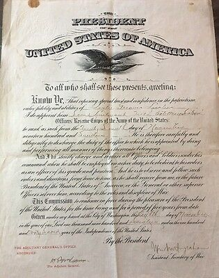 Asst. Secretary Of War 1917 WWI Signed Military Commission Document Infantry