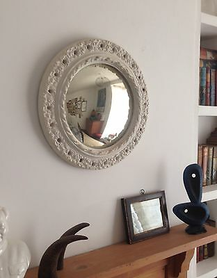 Vintage Round Chunky Frame Convex Mirror. Shabby Chic