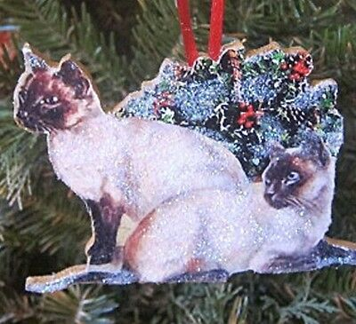 Siamese Cats Handcrafted Wooden Christmas Ornament Cat Lover Gift Holly Basket