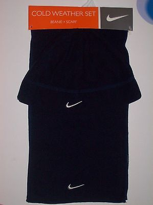 Nike Hat Scarf Set Boys Winter Fleece Beanie Warm Obsidian Blue Sz 8-20  NWT