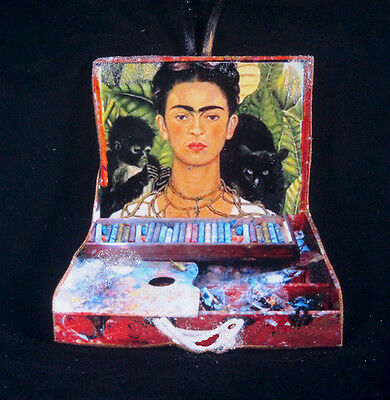 Frida Kahlo's Paintbox Christmas Ornament, Mexican Art, Self-Portrait Palette