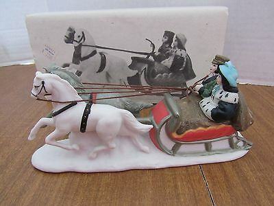 Dept 56 Heritage Village #6511-0 Sleigh Ride Young Couple Grey & White Horse