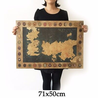 Game of Thrones vintage wall poster sticker kraft map The song of ice 71*51cm