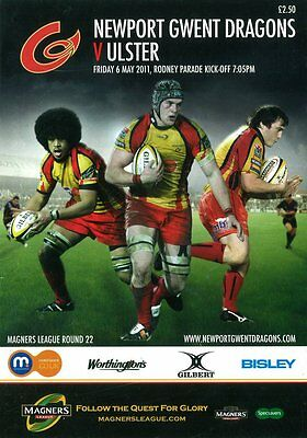 2 Newport Gwent Dragons Programmes 2011 Ulster Magners League & Scarlets LV Cup