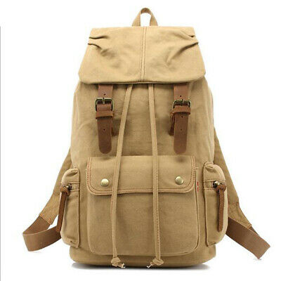 Unisex Canvas Backpack Tourist Camping Mountaineering Hiking Travel Rucksack New