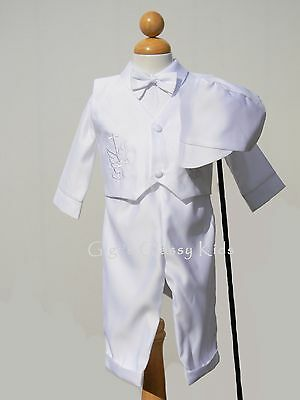 New Baby Boys Infant Christening Baptism White Outfit Set Dedication Hat Dove