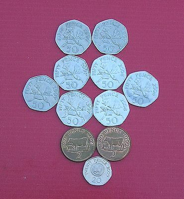 Selection of Various Guernsey Regional Coins (1p,2p,5p,10p,20p,50p, £1, £2, £5)