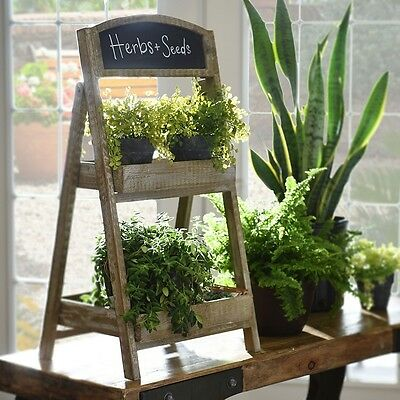 Chalkboard Plant Stand Rustic Country Cottage Shabby Chic Indoor Outdoor Decor