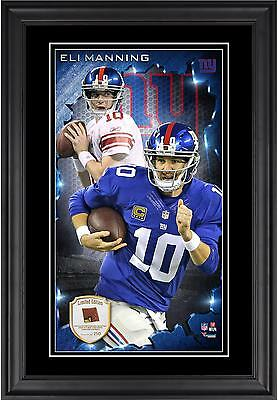 Eli Manning NY Giants Framed 10'x18 Photo with Piece of Game-Used Football
