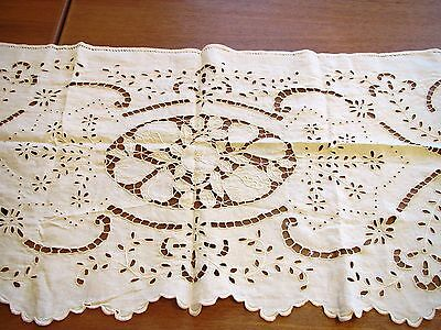 Antique Runner French Mantle Scarf Cutwork Linen Chimney Fireplace Shelf Cover