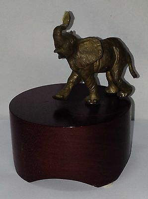 """Musical Rotating Brass Elephant on Wood Stand Swiss Reuge Movement """"Small World"""""""