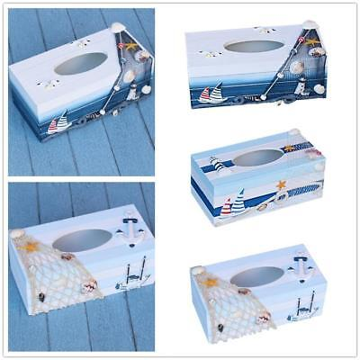 Nautical Home Car Room Decor Wooden Tissue Box Cover Papers Holder Case Office