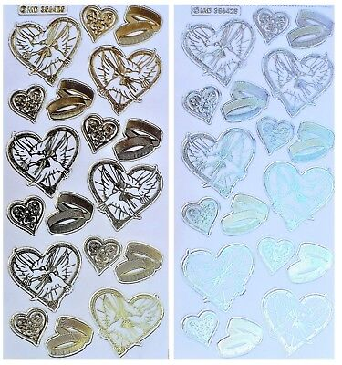 EMBOSSED WEDDING DOVES Peel Off Stickers Rings Hearts Gold or Silver on Clear