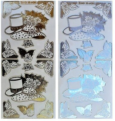 EMBOSSED WEDDING HATS & CORNERS Peel Off Stickers Roses Gold or Silver on Clear