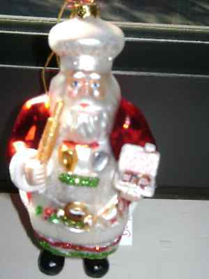 Glass Ornament  Jolly Old Saint Nick All Dressed Up For Christmas Baking