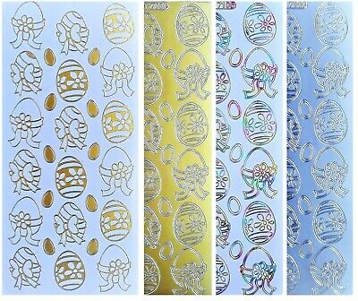 EASTER EGGS Peel Off Stickers Spring Bows Flowers Gold Silver or Multi coloured