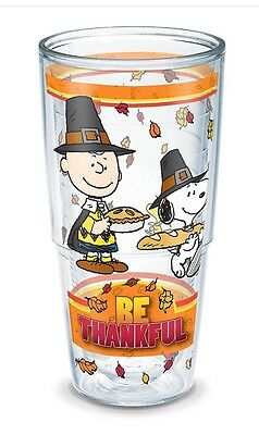 Tervis Be Thankful Peanuts Thanksgiving 24 Oz Double Wall Tumbler New