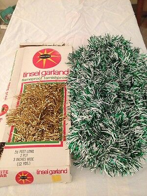 2 Lot Brite Star Christmas Tree Icicles Silver Tinsel Gold Icicle Box Gold Green