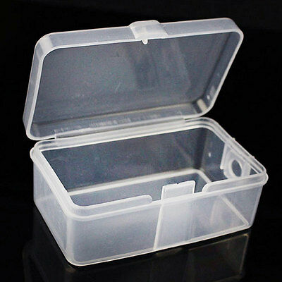 2x Mini Plastic Clear Transparent With Lid Collection Container Case Storage Box