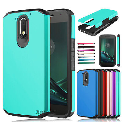 Shockproof Hybrid Rugged Rubber Dual Layer Armor Case for Motorola Moto G4 Play