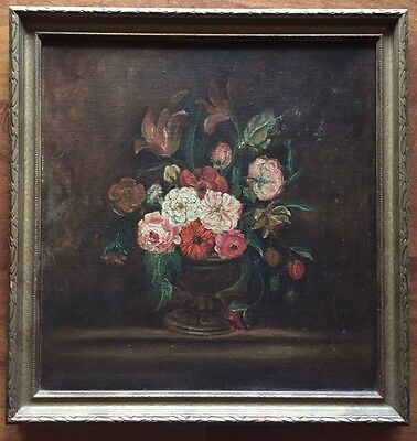 Very Nice Antique Still Life Painting Flower Bouquet  In Vase Old Master Style