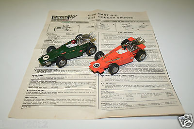 Vintage 1970's Scalextric C20 Dart cars with maintenance instructions