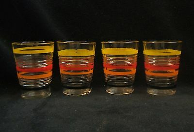 4 Vintage Hocking Banded Rings Decorated Multi-Color 2 1/4 Inch Whiskey Tumblers