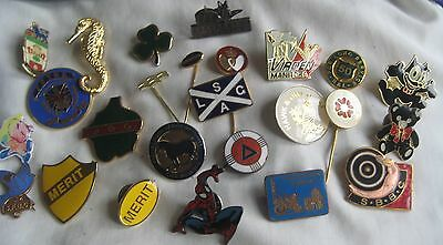 Collection Job lot of 25 mixed assorted old metal acrylic enamel pin BADGES