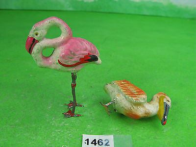 vintage unknown composition flamingo & pelican to fix collectable zoo toys 1464