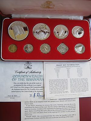 Commonwealth of Bahamas 1977 Proof 9 coin Set 4 silver Franklin Mint box COA