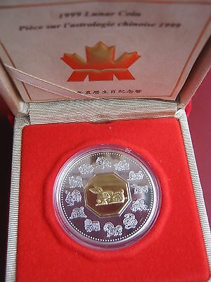 Canada 1999 $15 Sterling Silver coin Lunar Series Year of Rabbit Canadian Mint