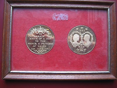 UK 1982 Royal Birth of Prince WILLIAM Charles Diana Commemorative Medals framed