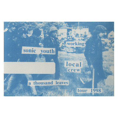 Sonic Youth authentic Working 1998 tour Backstage Pass