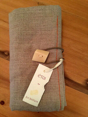 CROCHET HOOK Case Pouch 4-Fold LINEN Natural w/Red Interior NWT Etui Made