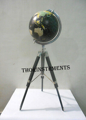 Retro World Globe With Table Tripod Stand Nautical Authentic Globe Modern Style