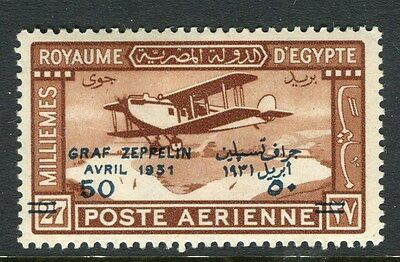 EGYPT;  1931 early AIR GRAF ZEPPELIN surcharged issue 50m. Mint hinged
