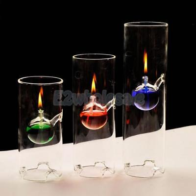 Cylinder Glass Oil Kerosene Alcohol Lamp Burner Atmosphere Lighting Decor 5SIZES