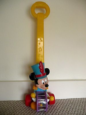Rare Disney Vintage Push Along Mickey Mouse Toy - Popping Baby Walker 22""